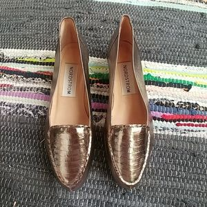 Like new gold nordstrom flat loafers